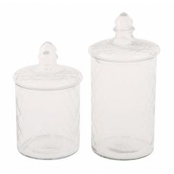 Бонбониера стъклена 10x10x17 cм