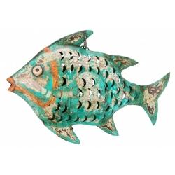 Висящ Метален свещник риба-синя