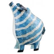 Метално прасенце на райета в синьо - касичка