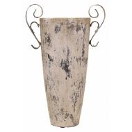 Керамична ваза - крем и бяло