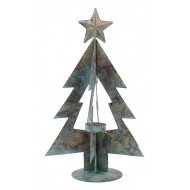 Метален свещник елха - старинно зелено и златно19х19х33см