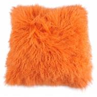 Възглавница оранжева 40x40 cм - Лице: 100% Агнешка кожа, гръб: 100% полиестер