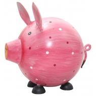 Метално розово прасенце на точки - касичка