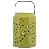 Керамичен фенер с листа - зелен 15x14,8x11,3 cм
