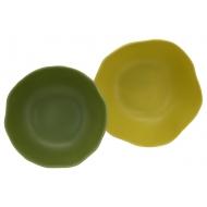 Порцеланова чиния - зелен/жълт 20,7x20,7x2,8см