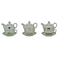 Порцеланова чаша за чай и чайник 6,5x5x12 cм