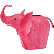Метално розово слонче - касичка 19х9х16см