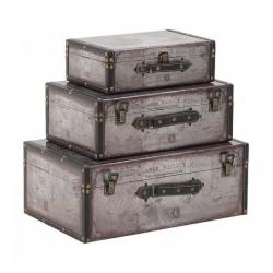 Декоративни куфари в три размера с кожена обвивка
